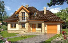 Projekt domu z poddaszem Iliada o pow. 129,1 m2 z garażem 1-st., z dachem kopertowym, z tarasem, z wykuszem, sprawdź! Design Case, Home Fashion, Portal, House Plans, Farmhouse, House Design, Cabin, Mansions, Architecture