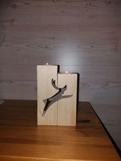 Reindeer candle holder. Rovaniemi logosta