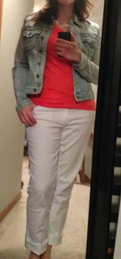 May Pinspired Look #3 ~ X-tremely V denim jacket, coral tee, white jeans, silver necklace, sandals