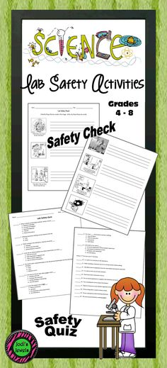 Middle school science lab safety check and quiz. Use humor to check science lab safety. Students will identify and circle the things that are wrong in the science lab cartoons. They will then write a description of what is happening and why it is unsafe.