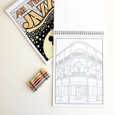 New Orleans building printable coloring page, great architecture lovers gift as building print unique anti stress gift for mom and daughter by liatib on Etsy