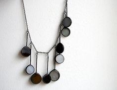 Statement black gray necklace stained glass jewelry di ArtKvarta, $39.00