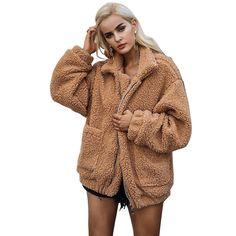 BF wind imitation fur casual long-sleeved collar pocket loose plush jacket