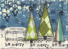 Be Merry  Christmas Trees in the Snow by VintageCreationsbycw, $8.00