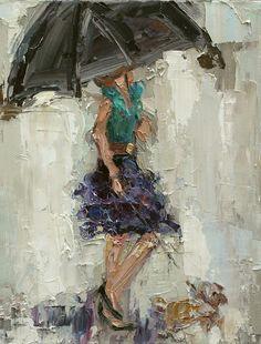 "Kathryn Trotter Art: ""UMBRELLA GIRL 2"" by Kathryn Morris Trotter"