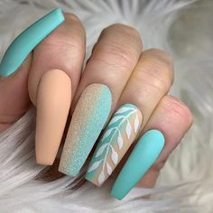 Awesome Acrylic Coffin Nails Designs In Summer - Nail Designs Blue Acrylic Nails, Summer Acrylic Nails, Summer Nails, Stylish Nails, Trendy Nails, Bling Nails, Swag Nails, Grunge Nails, Cute Acrylic Nail Designs