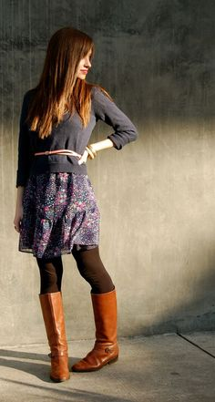 Sweater over dress w/ tights and boots.