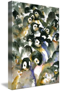 """Penguin Nursery II Abstract Watercolor Art"" by Miriam Schulman"