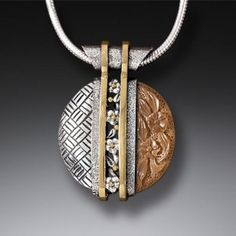 Tsuba pendant in fossilized ivory and gold fill - design inspired by the hand guard on a traditional Japanese sword.