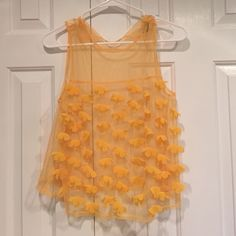 Mesh top Never worn! This mesh top is yellow and looks great during the summer! Forever 21 Tops Tank Tops