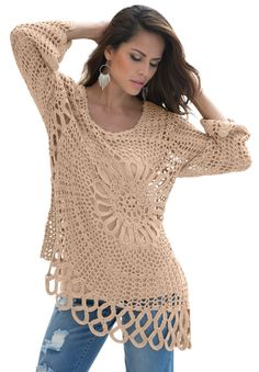 "This starburst crochet plus size sweater by denim 24/7® has the edgy, cool look you've been searching for.  fit and flare silhouette is comfortable, yet feminine   3/4-length bell sleeves have a vintage feel front and back starburst stitch pattern asymmetrical hem creates a light and flowy feel hem drops to about 30"""" and meets at the high thigh acrylic/nylon/polyester, machine wash, imported  Plus size sweaters, jackets, coats - starburst crochet sweater by denim 24/7®, ..."