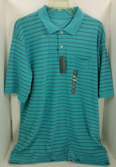 Men's Polo Shirt Large Pocket Covington Sears Casual Stretch Blue Striped #Covington #PoloRugby