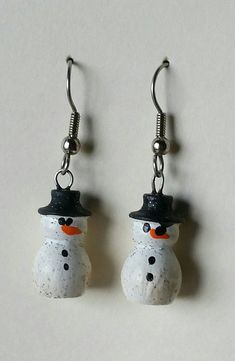 Snowman earrings Haintpainted Turned Wood Earrings Gold or
