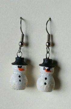 Snowman earrings Haintpainted Turned Wood Earrings Gold or