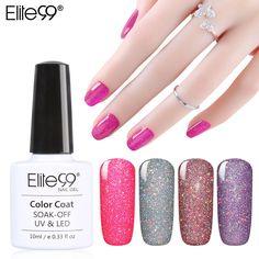 Elite99 Soak Off Bling Neon Color Gel UV LED Base Top Coat Shimmer Nail Art Wonderful Nail Polish 10ML
