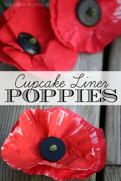 Painted Cupcake Liner Poppy Craft - Happy Hooligans Painted Cupcake Liner Poppies - Here's an easy poppy craft for kids to make for Veterans Day or Remembrance Day. All you need are cupcake liners, pipe cleaners , paint and buttons. Poppy Craft For Kids, Crafts For Kids To Make, Kids Crafts, Summer Crafts, Hero Crafts, Sand Crafts, Toddler Crafts, How To Make, Remembrance Day Activities