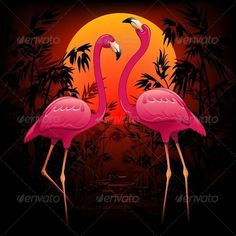 Buy Pink Flamingos on Tropical Sunset by Bluedarkat on GraphicRiver. A couple of elegant Pink Flamingos on a Peaceful Exotic Sunset Flamingo Rosa, Flamingo Art, Pink Flamingos, Flamingo Gifts, Mosaic Drawing, Flamingo Pictures, Montgomery, Good Night Image, 5d Diamond Painting