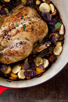 One-Pot Roasted Chicken & Veggies | a GREAT family meal | FamilyFreshCooking.com #paleo