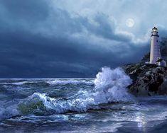 Water Scene Painting - Boston Harbor Lighthouse Moonlight Scene by Regina Femrite Lighthouse Storm, Lighthouse Painting, Lighthouse Decor, Moonlight Painting, Lighthouse Pictures, Water Tower, Fine Art America, Scenery, Images