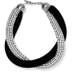 Saint Laurent Silver-plated, crystal and velvet choker ($3,410) ❤ liked on Polyvore featuring jewelry, necklaces, silver plated necklace, silver plating jewelry, crystal stone necklace, crystal necklace and crystal jewelry