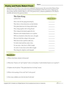 In this activity, students will read a poem by Frost before answering questions about the passage and determining the rhyme scheme for each line of the poem