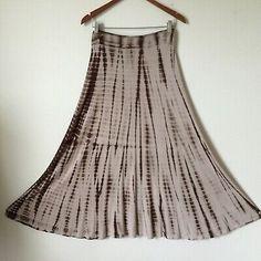 20236dc13 M Cocoa Brown Tie Dye Maxi Skirt Soft Rayon Knit Long Hippie Gypsy Boho  Festival