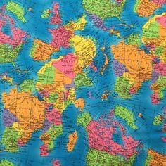 Fabric World Map Cotton Fabric Wide Sewing/ Dressmaking Per Metre & Garden World Map Design, Polycotton Fabric, Printed Materials, Fabric Material, Dressmaking, Printed Cotton, Fabric Crafts, Printing On Fabric, Sewing