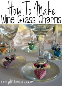 How To Make Polymer Clay Wine Glass Charms #crafts #diy