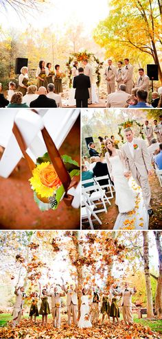 I absolutely LOVE the bottom picture!  I sure hope there are colorful leaves like that for my wedding...