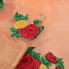 2983a79751 Applique Work Embroidered Peach Organza Fancy Saree With Floral Motifs & Zari  Border 10013250 Fancy Sarees