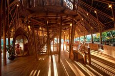 Green Village, founded by jewelry designer John Hardy and designed by his daughter Elora, is a community of sustainable and ecological houses sitting along the Ayung River in Bali. Each of the homes are made entirely of bamboo, from Bali-based bamboo and Bamboo Architecture, Sustainable Architecture, Architecture Design, Sustainable Houses, Sustainable Design, Architecture Interiors, Bamboo Building, Green Building, Bamboo Village