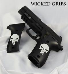 SIG P226 CUSTOM GRIPS CLASSIC PUNISHER CERAKOTE - Wicked Grips - CERAKOTE 226