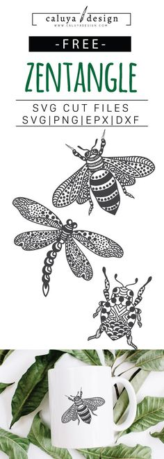 FREE SVG Cut File Zentangle Bee, Zentangle Dragonfly, Zentangle Beetle. Printable vector clip art download. Compatible with Cameo Silhouette, Cricut explore and other major cutting machines. 100% for personal use, only $3 for commercial use. Perfect for DIY craft project with Cricut & Cameo Silhouette, card making, scrapbooking, making planner stickers, making vinyl decals, decorating t-shirts with HTV and more! Free SVG, free zentangle SVG, zentangle dragon fly SVG Cut File, Beetle SVG Cut…