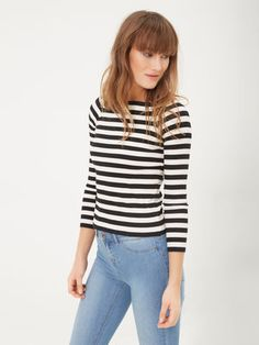 STRIPED LONG SLEEVED TOP, Black