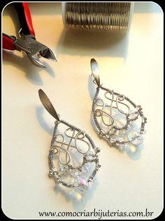Montagem de Bijuterias - Como Fazer e Vender, Passo-a-Passo, Idéias e Mais!: Passo a passo de gotas de arame com cristais