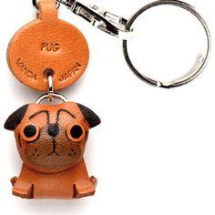 Pug Keychain black, brown, women's accessories