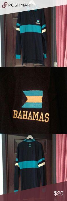 Mens long sleeve polo Mens long sleeve polo style shirt with embroidered Bahamas flag and name. Worn once. Bahamia Shirts Polos