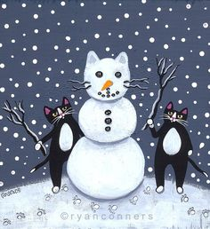 Just love the fun subject matter Snowman Cats Original Folk Art Painting by KilkennycatArt on Etsy Christmas Animals, Christmas Cats, Xmas, Merry Christmas, Frida Art, Winter Cat, Christmas Paintings, Cat Drawing, Illustrations