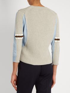 Click here to buy Maison Margiela Contrast-panel ribbed-knit cotton sweater at MATCHESFASHION.COM