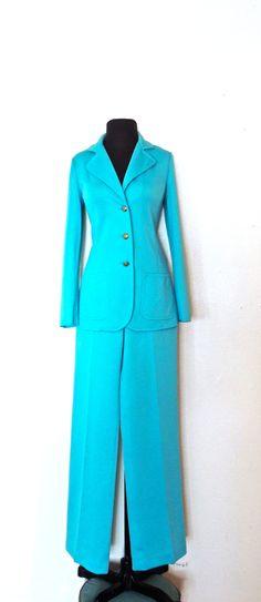 vintage aqua pantsuit - 1960s Kimberly blue knit pants suit by mkmack on Etsy