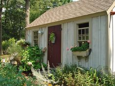 Concentrate on the landscaping around your garden shed to anchor it and soften the edges.