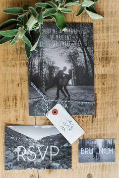 Black and white photo wedding invitations | Image by Marion Heurteboust
