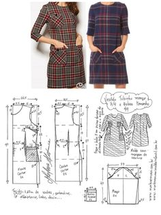 Short dress pattern with mid length sleeves pattern Dress Sewing Patterns, Blouse Patterns, Clothing Patterns, Make Your Own Clothes, Diy Clothes, Costura Fashion, Sewing Blouses, Diy Dress, Fashion Sewing