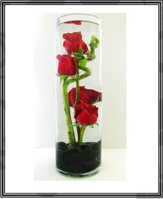 submerged rose! with black stones!