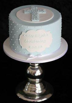 Pastel blue & white Christening Cake.