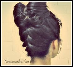 Upside down braid bun with hair bow hairstyle.  French braid style updo, easy hairstyles for school, prom, homecoming, wedding