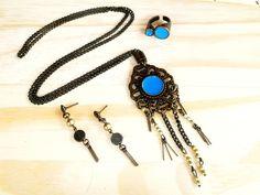 Conjunto turquesa com colar, brinco e anel na tendência Boho!