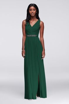 9eb5a54d3c90 Long Mesh Dress with V-Neck and Beaded Waistband Style W11092, Begonia, 16. Davids  Bridal ...