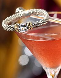 Made with Ketel One Citroen Vodka, Cointreau, lime and cranberry juice, this one-of-a-kind martini is garnished with a White Topaz and Diamond Caviar™ Rope Bracelet from acclaimed designer Steven Lagos.  That's my kinda jewel!