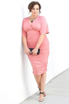 Show off your curves this Valentine's Day in our plus size Rumor Ruched Dress.  Browse our entire made in the USA collection online at www.kiyonna.com.  #KiyonnaPlusYou